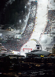 "29.01.2019, Planai, Schladming, AUT, FIS Weltcup Ski Alpin, Slalom, Herren, 2. Lauf, im Bild der untere Bereich des Planai-Zielhanges mit Hohenhaus Tenne, Skygate und Planet Planai // finish area of the racehill, Hohenhaus Tenne, Skygate and Planet Planai during 2nd run of men's Slalom ""the Nightrace"" of FIS ski alpine world cup at the Planai in Schladming, Austria on 2019/01/29. EXPA Pictures © 2019, PhotoCredit: EXPA/ Martin Huber"