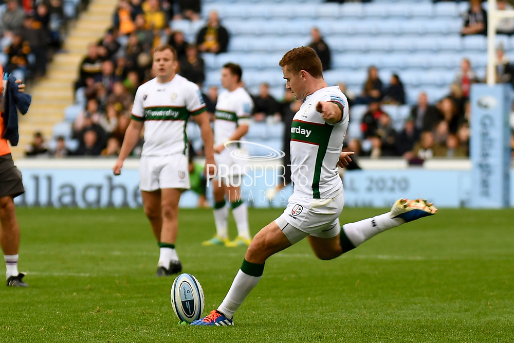 London Irish fly half Paddy Jackson (10) kicks a conversion during the Gallagher Premiership Rugby match between Wasps and London Irish at the Ricoh Arena, Coventry, England on 20 October 2019.