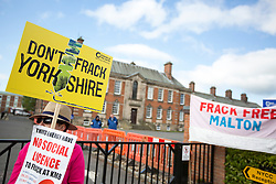 © Licensed to London News Pictures. 23/05/2016. Northallerton UK. A decision is expected today at Northallerton County Hall on wether to allow UK firm Third Energy to frack for shale gas in Kirby Misperton. Photo credit: Andrew McCaren/LNP
