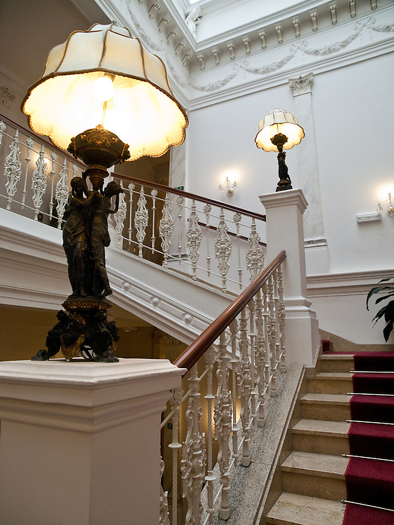 Entrance hall of the luxury hotel Imperial at the spa resort of Frantiskovy Lazne in Czech Republic.