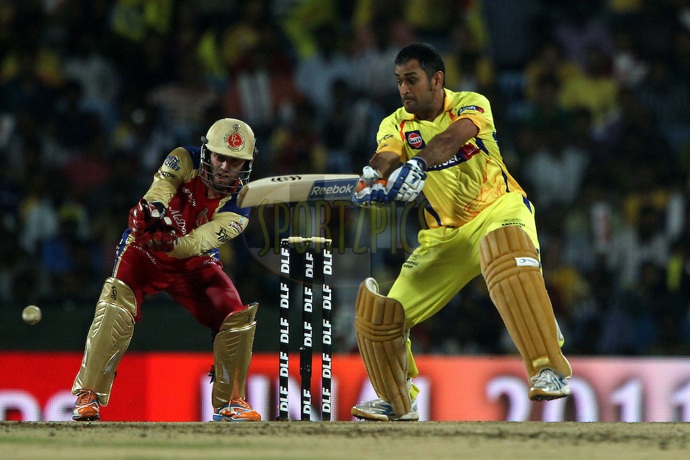 MS Dhoni during the final of the Indian Premier League ( IPL ) Season 4 between the Chennai Superkings and the Royal Challengers Bangalore held at the MA Chidambaram Stadium in Chennai, Tamil Nadu, India on the 28th April 2011..Photo by Ron Gaunt/BCCI/SPORTZPICS