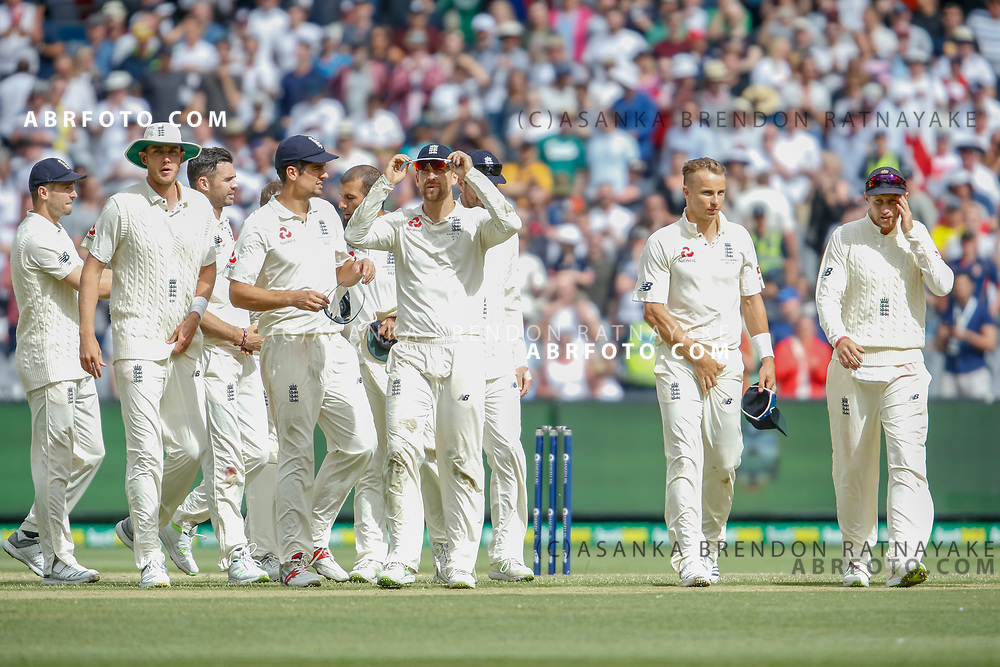 The England players walk off as the match played out to a draw during day 5 of the 2017 boxing day test.