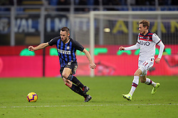 February 3, 2019 - Milan, Milan, Italy - Stefan De Vrij #6 of FC Internazionale Milano competes for the ball with  Ladislav Krejci #11 of Bologna FC during the serie A match between FC Internazionale and Bologna FC at Stadio Giuseppe Meazza on February 3, 2019 in Milan, Italy. (Credit Image: © Giuseppe Cottini/NurPhoto via ZUMA Press)
