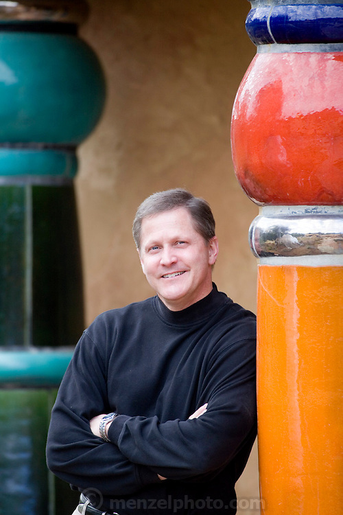 Lew Price, 46, General Manager of Quixote Winery. Owned and built by Carl Doumani and designed by Friedensreich Hundertwasser, an Austrian designer. Napa Valley, CALIFORNIA.