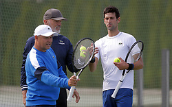 BELGRADE (SERBIA), Oct, 01, 2018  Serbia's tennis player Novak Djokovic (R) speaks with his coaches Marin Vajda (L) and Gebhard Gritsch (C) during open training session in Belgrade, Serbia on Oct, 01. 2018. (Credit Image: © Predrag Milosavljevic/Xinhua via ZUMA Wire)