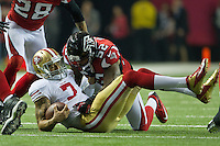 20 January 2013: Quarterback (7) Colin Kaepernick of the San Francisco 49ers is sacked by (52) Akeem Dent of the Atlanta Falcons during the second half of the 49ers 28-24 victory over the Falcons in the NFC Championship Game at the Georgia Dome in Atlanta, GA.