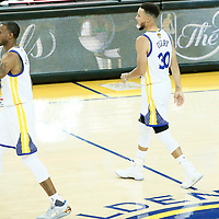04 June 2017: Golden State Warriors forward Andre Iguodala (9) is seen next to Golden State Warriors guard Stephen Curry (30) during the Golden State Warriors 132-113 victory over the Cleveland Cavaliers, in game 2 of the 2017 NBA Finals, at the Oracle Arena, Oakland, California, USA.