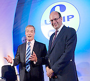 UKIP National Party Conference <br /> Day 2<br /> at Doncaster Race Course, Doncaster, Great Britain <br /> 27th September 2014 <br /> <br /> Nigel Farage <br /> leaders' speech <br /> <br /> with Mark Reckless MP <br /> (Conservative MP who has also defected to UKIP)<br /> <br /> Photograph by Elliott Franks <br /> Image licensed to Elliott Franks Photography Services