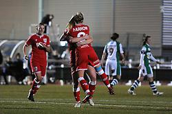 Millie Farrow of Bristol City Women celebrates with her team mates after scoring - Mandatory by-line: Dougie Allward/JMP - Mobile: 07966 386802 - 23/03/2016 - FOOTBALL - Stoke Gifford Stadium - Bristol, England - Bristol City Women v Yeovil Town Ladies - FA Women's Super League 2