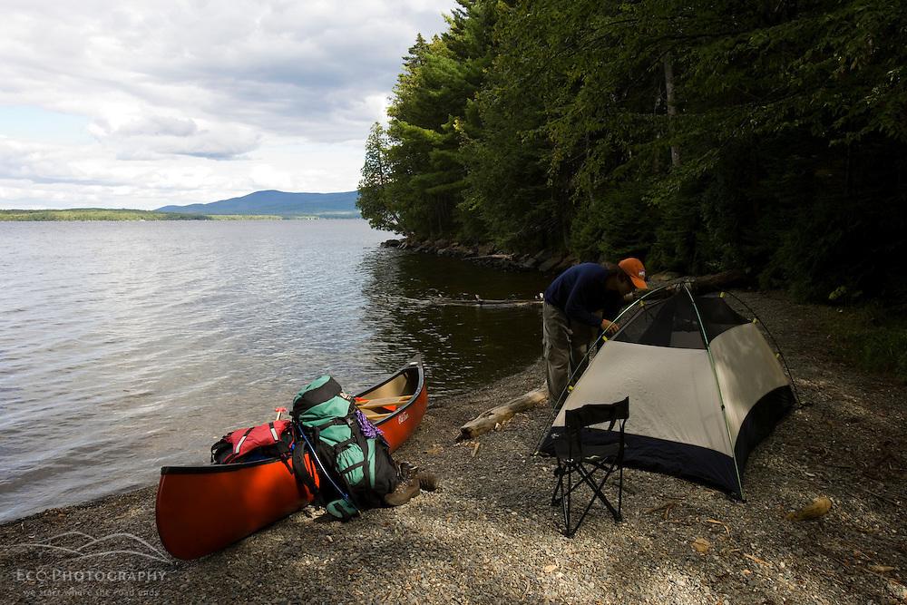 Camping on Sugar Island on Moosehead Lake Maine USA (MR)