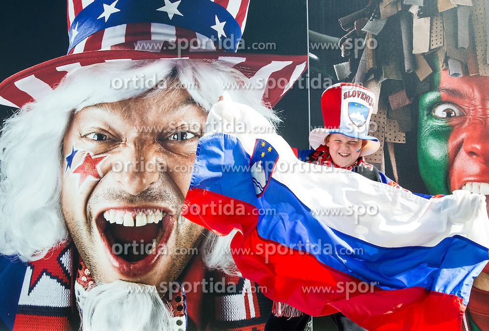 Young Fan of Slovenia prior to the Ice Hockey match between Slovenia and USA at Day 10 in Group B of 2015 IIHF World Championship, on May 10, 2015 in CEZ Arena, Ostrava, Czech Republic. Photo by Vid Ponikvar / Sportida