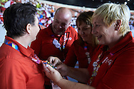 Polish Team Special Olympics during opening ceremony of the Special Olympics World Games Los Angeles 2015 at the Los Angeles Coliseum Stadium on July 25, 2015 in Los Angeles, USA.<br /> USA, Los Angeles, July 25, 2015<br /> <br /> Picture also available in RAW (NEF) or TIFF format on special request.<br /> <br /> For editorial use only. Any commercial or promotional use requires permission.<br /> <br /> Adam Nurkiewicz declares that he has no rights to the image of people at the photographs of his authorship.<br /> <br /> Mandatory credit:<br /> Photo by © Adam Nurkiewicz / Mediasport