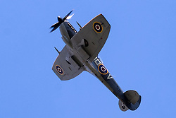 Cleethorpes 2015 flypast <br /> Spitfire Mk XVI TE311, from the RAF Battle of Britain Memorial Flight fleet, is a low-back/bubble-canopy Spitfire with &lsquo;clipped&rsquo; wingtips. The classic elliptical wingtips were replaced by shorter, squared-off fairings to substantially enhance the roll rate, closing the gap between the Spitfire and the Focke-Wulf Fw 190.<br /> <br /> August 2015<br />  Image &copy; Paul David Drabble <br />  www.pauldaviddrabble.co.uk