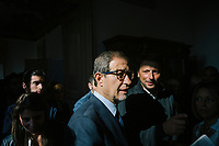 CATANIA, ITALY - 28 OCTOBER 2017: Center-right candidate Nello Musumeci (center), running for governor of Sicily in the upcoming Sicilan regional election, is seen here during the inauguration of the provincial headquarters of the Brothers of Italy – National Alliance political party (Italian: Fratelli d'Italia - Alleanza Nazionale) during his campaign tour in Catania, Italy, on October 28th 2017.<br /> <br /> The Sicilian regional election for the renewal of the Sicilian Regional Assembly and the election of the President of Sicily will be held on 5th November 2017.