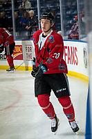 KELOWNA, CANADA - MARCH 9:  Conner Bruggen-Cate #20 of the Kelowna Rockets skates during warm up against the Kamloops Blazers on March 9, 2019 at Prospera Place in Kelowna, British Columbia, Canada.  (Photo by Marissa Baecker/Shoot the Breeze)