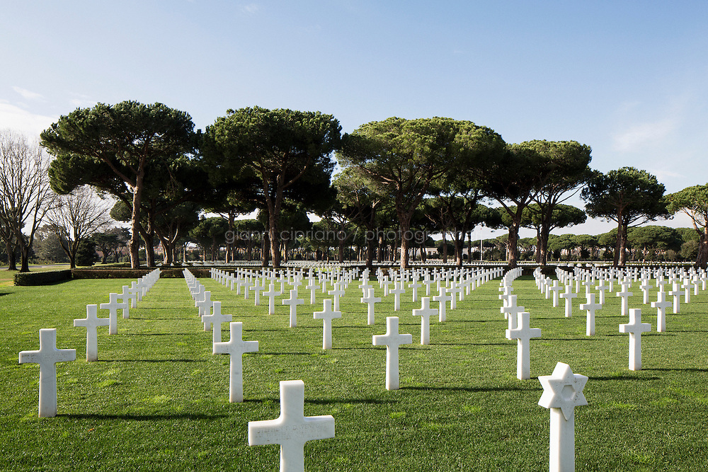 NETTUNO, ITALY - 21 January 2014: Headstones of fallen American soldiers at the Sicily-Rome American cemetery and Memorial in Nettuno, Italy, on January 21st 2014.