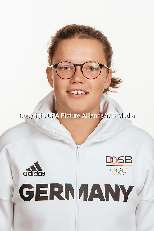 Charlotte Stapenhorst poses at a photocall during the preparations for the Olympic Games in Rio at the Emmich Cambrai Barracks in Hanover, Germany, taken on 15/07/16 | usage worldwide
