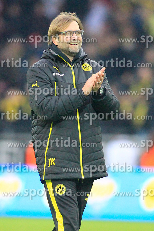 01.03.2014, Signal Iduna Park, Dortmund, GER, 1. FBL, Borussia Dortmund vs 1. FC Nuernberg, 23. Runde, im Bild Trainer Juergen Klopp (Borussia Dortmund) gut gelaunt am Lachen, Emotion, Freude, Glueck // during the German Bundesliga 23th round match between Borussia Dortmund and 1. FC Nuernberg at the Signal Iduna Park in Dortmund, Germany on 2014/03/01. EXPA Pictures &copy; 2014, PhotoCredit: EXPA/ Eibner-Pressefoto/ Schueler<br /> <br /> *****ATTENTION - OUT of GER*****