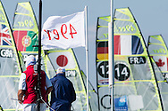 Miami - January 29, 2015.  In the men's skiff division, 49ers jostle for position during a start at the 2015 ISAF Sailing World Cup in Miami.