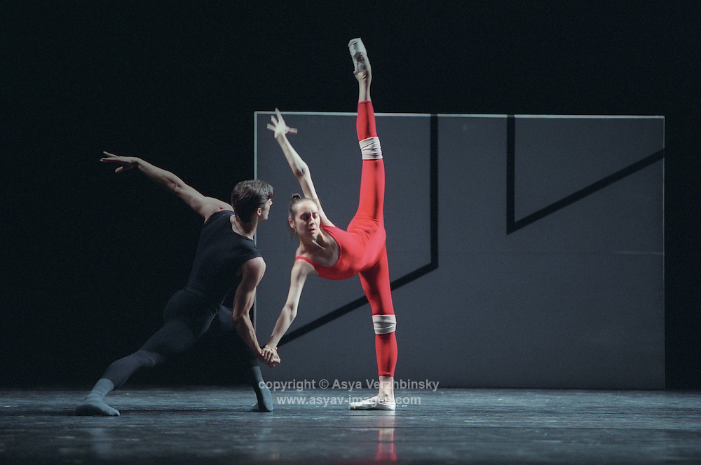 "Daria Pavlenko and Vladimir Shishov in William Forsythe's ""Steptext"". Kirov Ballet tour to London. Royal Opera House, Covent Garden."