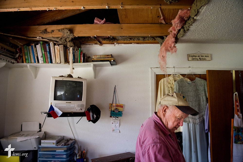 Carl McKay, member of Peace Lutheran Church, Rockport, Texas, shows a reporter his home, which was damaged a week prior by Hurricane Harvey, on Thursday, Aug. 31, 2017, in Texas. LCMS Communications/Erik M. Lunsford