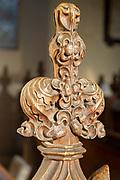 Village parish church Hacheston, Suffolk, England, UK carved wooden poppyhead pew end