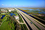 Aerial view of Alligator Alley passing Weston west to the Everglades.