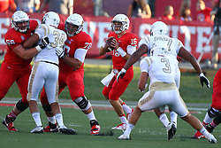 03 September 2016:  Jake Kolbe stands in the pocket protected by Ryan Gelber and Cameron Lee. NCAA FCS Football game between Valparaiso Crusaders and Illinois State Redbirds at Hancock Stadium in Normal IL (Photo by Alan Look)