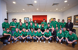 Group photo at meeting of HD Tilia Olimpija with slovenian journalists before the new season,  on September 15, 2008 in Tivoli, Ljubljana, Slovenia.  (Photo by Vid Ponikvar / Sportal Images)