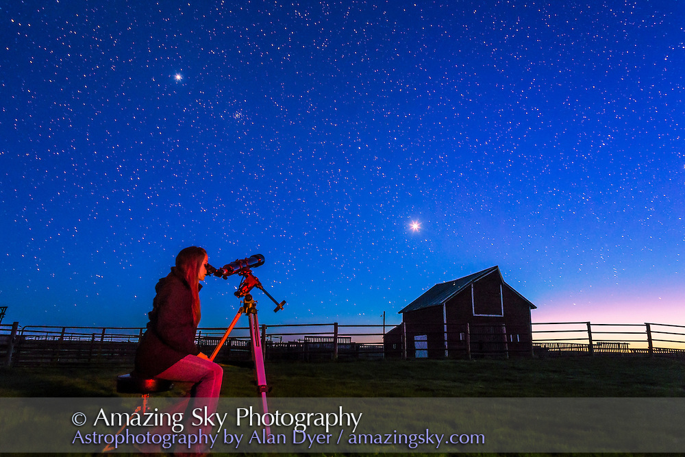 Observing Venus in the spring evening sky, May 2015, at the Old Man on His Back Prairie and Heritage Conservation Area in southwest Saskatchewan. Jupiter is at upper left near the Beehive star cluster. This is a single exposure with the 24mm lens and Canon 6D. Red light provided by light painting with a red LED flashlight.