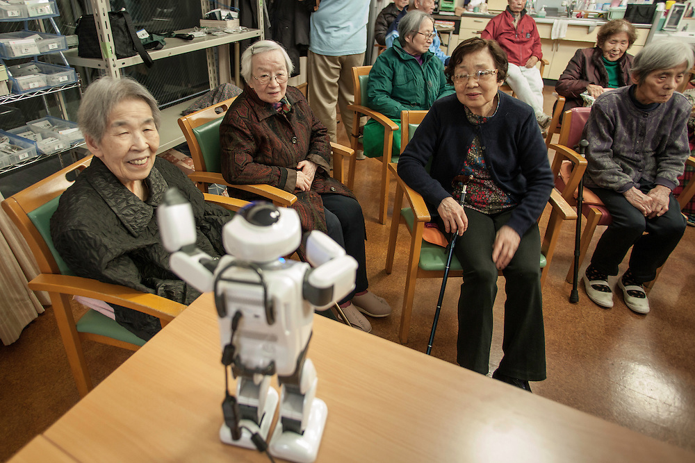 "Silver Wings Senior Care Center . the center one of the  first in tokyo to take advantage of robots and other mecihinal assit devices. Fujisoft's  comunication robot ""PALRO"". (small robot) Palro not only Interacts with clients, leading them in simple  exersises, singing and other recreational activities   remembers it's freinds favorite likes and taste based on conversations.    Palro remembers it's freinds favorite activities,songs and tastes based on conversations."