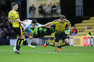 Mitrovic and Sebastian Prodl  during the The FA Cup Third Round match between Watford and Newcastle United at Vicarage Road, Watford, England on 9 January 2016. Photo by Dave Peters.