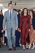 King Felipe VI of Spain, Queen Letizia of Spain visit ARCO Fair at IFEMA on February 27, 2020 in Madrid, Spain