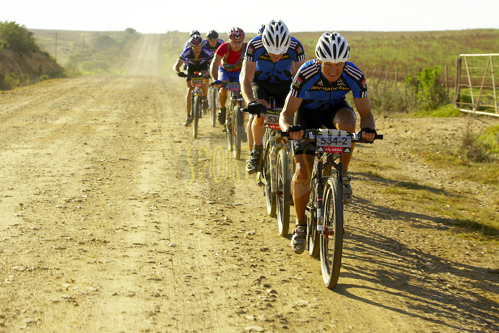 WESTERN CAPE, SOUTH AFRICA -  3 April 2008, Barti Bucher & Doug Brown of Absa Masters during stage six of the 2008 Absa Cape Epic Mountain Bike stage race from Bredasdorp Municipal Sports Grounds in Bredasdorp to Hermanus Old Harbour, Hermanus in the Western Cape, South Africa..Photo by Gary Perkin/SPORTZPICS