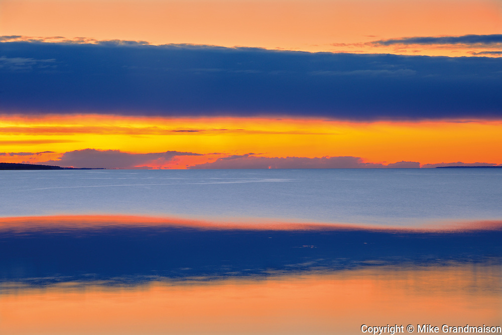 Lesser Slave Lake abstract at sunset<br /> Lesser Slave Lake Provincial Park<br /> Alberta<br /> Canada