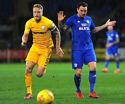 Lee Tomlin of Cardiff City competes with Tom Clarke of Preston North End- Mandatory by-line: Nizaam Jones/JMP - 29/12/2017 -  FOOTBALL - Cardiff City Stadium - Cardiff, Wales -  Cardiff City v Preston North End - Sky Bet Championship