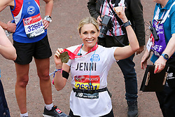 © Licensed to London News Pictures. 28/04/2019. London, UK. Jenni Falconer, TV/Radio presenter at the finish of 2019 Virgin Money London Marathon. Photo credit: Dinendra Haria/LNP