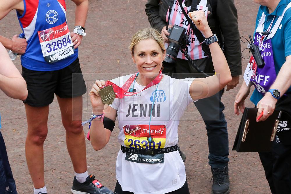 © Licensed to London News Pictures. 28/04/2019. London, UK. Jenni Falconer, TV/Radio presenter at the finish of 2019 Virgin Money London Marathon. Photo credit: Dinendra Haria/LNP