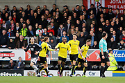 Burton Albion striker Marvin Sordell (9) scores a goal 1-1 and celebrates during the EFL Sky Bet Championship match between Burton Albion and Brentford at the Pirelli Stadium, Burton upon Trent, England on 18 March 2017. Photo by Richard Holmes.