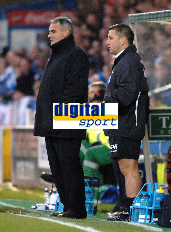 Photo: Ashley Pickering.<br /> Norwich City v Cardiff City. Coca Cola Championship. 21/10/2006.<br /> cardiff manager dave jones (l) and colchester manager geraint williams (r) watch from the sidelines