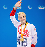 Oliver Hynd of Great Britain celebrates winning Gold after the Men's 400m Freestyle S8 Final  on Day One of the Rio Paralympics  in Rio de Janeiro, Brazil<br /> Picture by EXPA Pictures/Focus Images Ltd 07814482222<br /> 08/09/2016<br /> *** UK & IRELAND ONLY ***<br /> <br /> EXPA-SLO-160909-0012.jpg