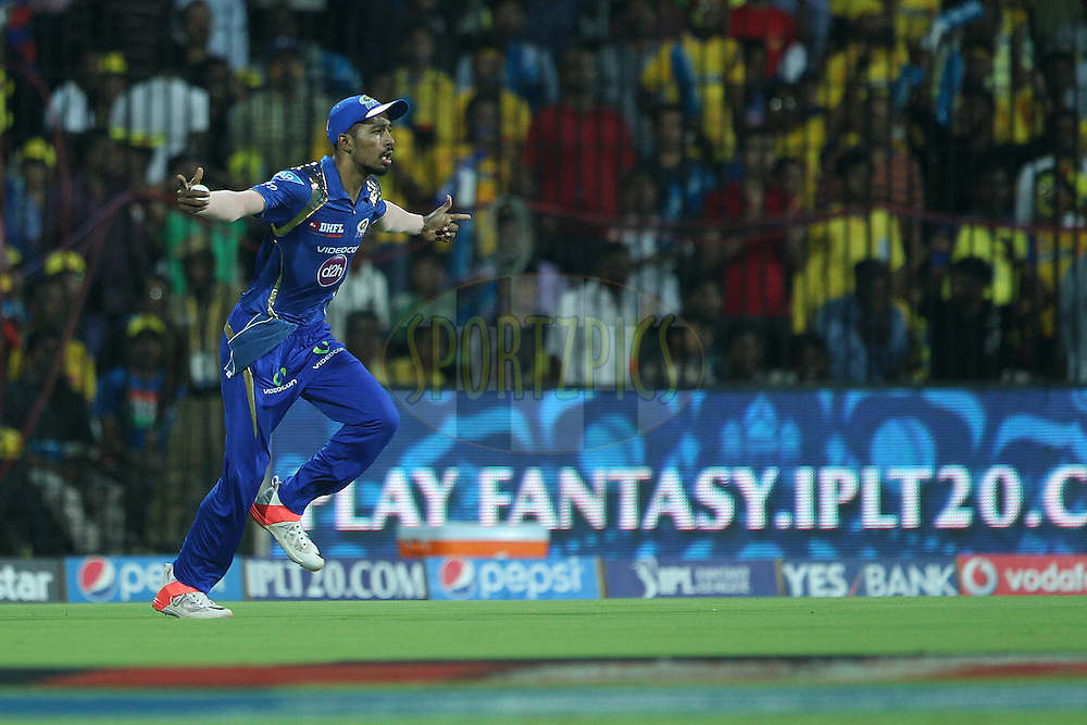 Hardik Pandya celebrates the wicket of Brendon McCullum of the Chennai Superkings  during match 43 of the Pepsi IPL 2015 (Indian Premier League) between The Chennai Superkings and The Mumbai Indians held at the M. A. Chidambaram Stadium, Chennai Stadium in Chennai, India on the 8th May April 2015.<br /> <br /> Photo by:  Ron Gaunt / SPORTZPICS / IPL