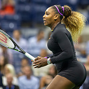 2019 US Open Tennis Tournament- Day Eleven.  Serena Williams of the United States during her match against Elina Svitolina of the Ukraine in the Women's Singles Semi-Finals match on Arthur Ashe Stadium during the 2019 US Open Tennis Tournament at the USTA Billie Jean King National Tennis Center on September 5th, 2019 in Flushing, Queens, New York City.  (Photo by Tim Clayton/Corbis via Getty Images)