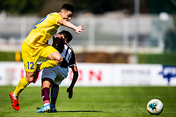 Sikosek Gregor of NK Domzale and Aliaga Victor of NK Triglav during football match between NK Triglav and NK Domzale in 9th Round of Prva liga Telekom Slovenije 2019/20, on September 15, 2019 in Sport park Kranj, Kranj, Slovenia. Photo by Grega Valancic / Sportida