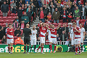 Middlesbrough players complain to Roger East (Middlesbrough) about a decision not to award a penalty during the Premier League match between Middlesbrough and Watford at the Riverside Stadium, Middlesbrough, England on 16 October 2016. Photo by Mark P Doherty.