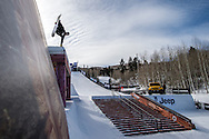 Sage Kotsenburg during Snowboard Slopestyle Practice during 2015 X Games Aspen at Buttermilk Mountain in Aspen, CO. ©Brett Wilhelm/ESPN