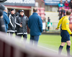 Ayr United&rsquo;s manager Ian McCall after Craig Moore booked for diving. <br /> Dunfermline 3 v 2 Ayr United, Scottish League One played at East End Park, 13/2/2016.