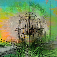 Modern mixed media art collage with an archival photograph of ship building and decorative overlays and color stains.