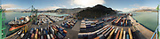 Extreme wide view of Lyttelton Container Wharf and Harbour.