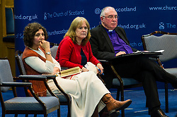 Pictured: Reverand Sally Foster Foulton, incoming CEO of Christian Aid Scotland, Trishia McConalougue, Bridging the Gap, and John Chalmers, Moderator of the Church of Scotland<br /> <br /> The People Politics Hustings,  organised by the Church of Scotland, allowed voters to question SNP deputy John Swinney, Scottish Labour leader Kezia Dugdale, Scottish Liberal Democrat leader Willie Rennie, Scottish Greens co-convener Patrick Harvie and former Scottish Conservatives leader Annabel Goldie ahead of the Scottish Elections. Before the politicians had a chance to speak they had a chance to listen to five speakers with different viewpoints on how Scotland has supported them in the past and how it should support them in the future..<br /> Ger Harley | EEm 4 April 2016
